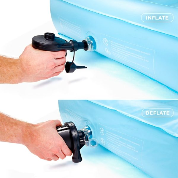 separate electric pump inflates in a minute