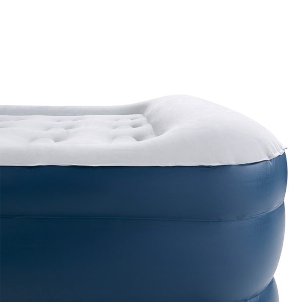 inflatable single air bed with built-in pillow