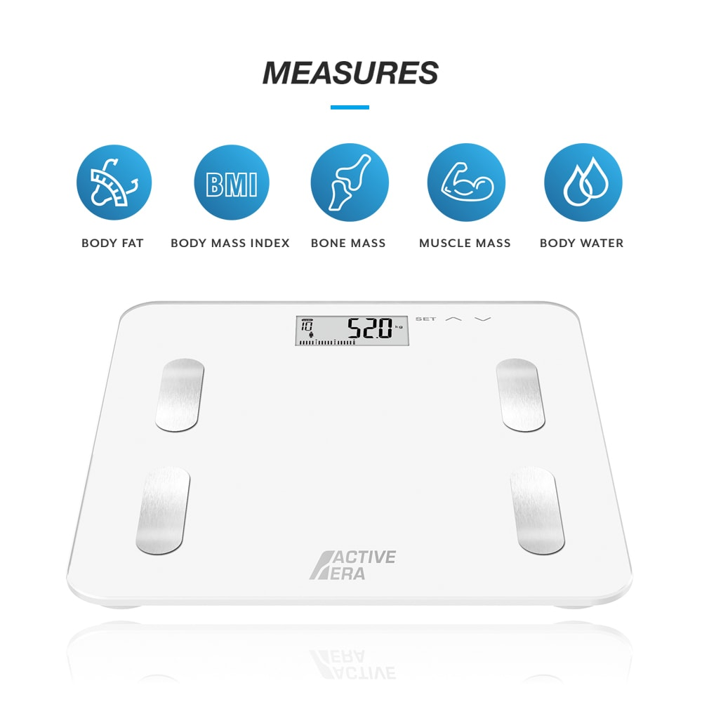 BS-02 Body Fat Analyser Bathroom Scales with BMI, Muscle and Calories  (White)