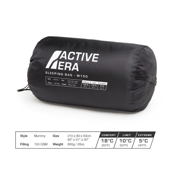 150 gsm mummy sleeping bag specifications